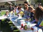 Students test water quality in groups